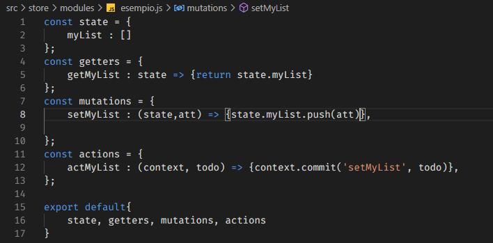 screenshot del file esempio.js